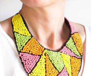 beaded necklace, beaded bib necklace, and africa bead necklace image