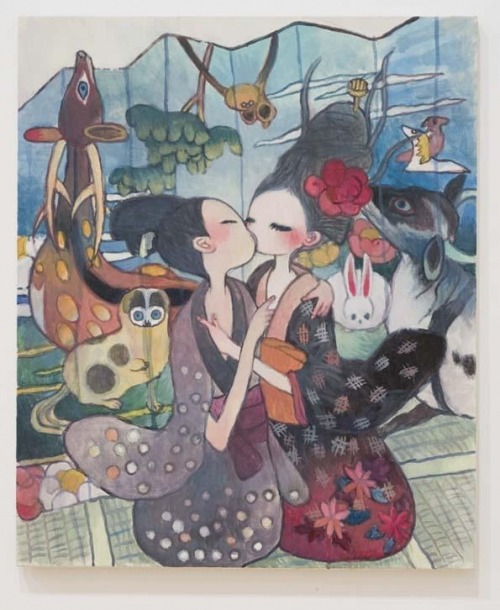 illustration, kiss, and pattern image