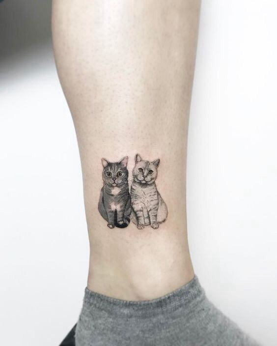tattoo, cat, and animal image