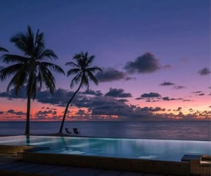 pool, ocean, and sunset image