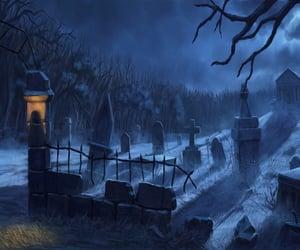 gravestones, cemetery, and shadows image