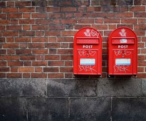 letters, post box, and red image
