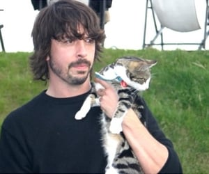 cat, dave grohl, and foo fighters image
