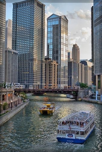 boat, buildings, and nature image