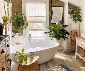 bathroom, home, and plants image