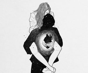 art, couple, and cuddle image