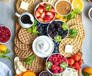 breakfast, FRUiTS, and waffle image