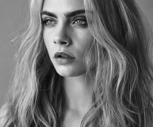 black and white, model, and delevigne image
