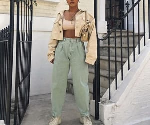 fashion, outfit, and crop denim jacket image