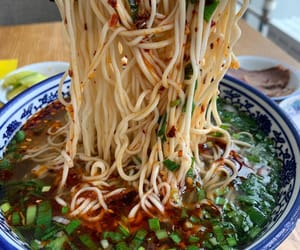 chinese food, spicy, and noodle soup image