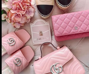 bags, flowers, and pink gucci image