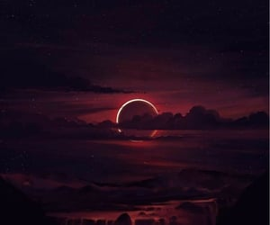 wallpaper, moon, and red image
