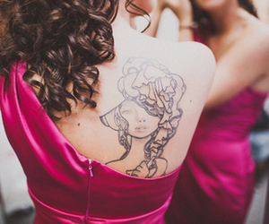 curls, dress, and hair image