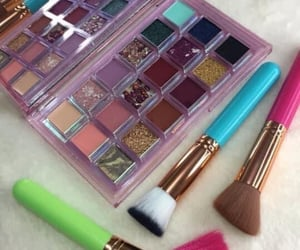 brush, makeup, and eyeshadowpalette image