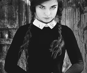 aesthetic, black and white, and wednesday addams image