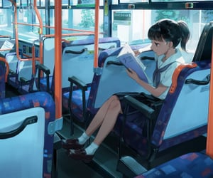 artist, bus, and gril image