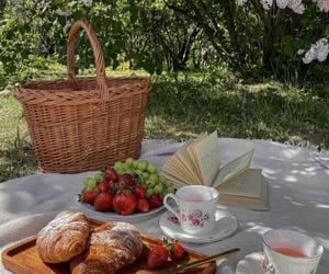 basket, croissant, and fashion image