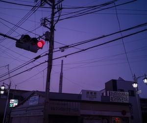 city, purple, and street lights image