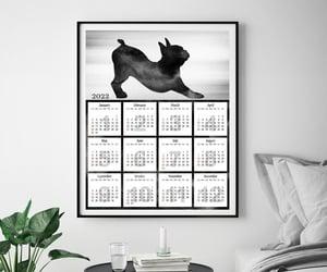 boston terrier, dog calendar, and office calendar image