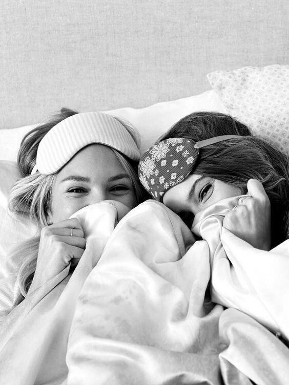 black & white, sleepover, and girls image