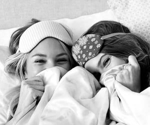 black & white, sleepover, and friends image