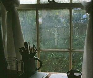 window, vintage, and rain image