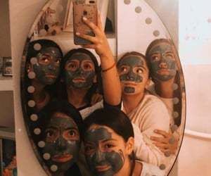 girls, sleepover, and facemask image