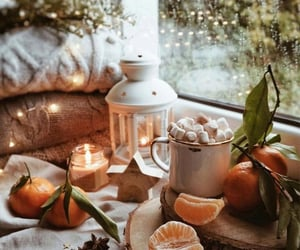 candle, fruit, and autumn vibe image