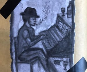 black&white, piano, and drawing image