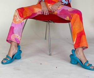 blue heels, psychedelic, and simple casual image