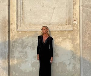 long sleeve, v neck dress, and classy glam image