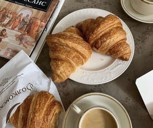 croissant, coffee, and drink image