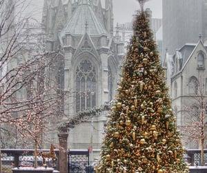 aesthetic, christmas tree, and ice image