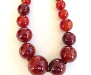 graduated beads, beaded necklace, and cherry amber image