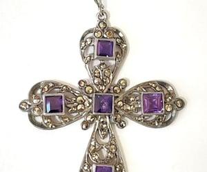 cross jewelry, amethyst marcasite, and vintagevoguetreasure image