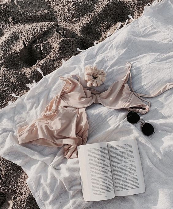 beach, book, and bikini image
