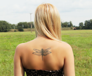 blonde, blonde hair, and dragonfly image