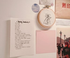 desk, pink aesthetic, and pink image