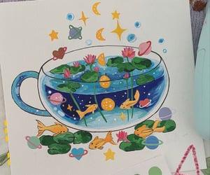 art, fish, and fish bowl image
