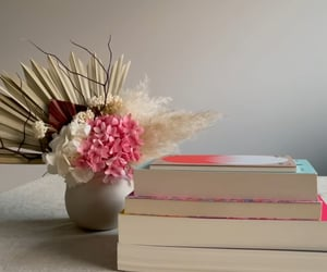 books, pink, and white image