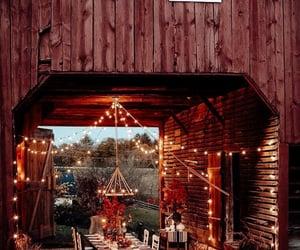 autumn, fairy lights, and barn image