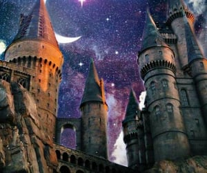 harry potter, moon, and sky image