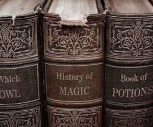 books, magic, and wizard image
