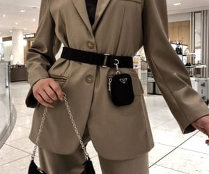 bag, prada bag, and brown suit image
