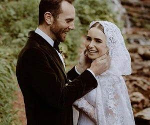 bride, groom, and lily collins image