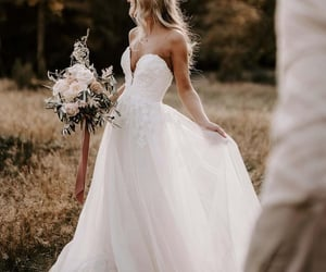 bridal, fashion, and beach wedding dress image