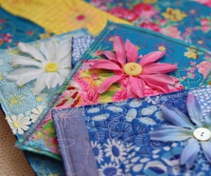 flowers, postcards, and fabric postcards image