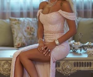 party dress, sequins dress, and pink dress image