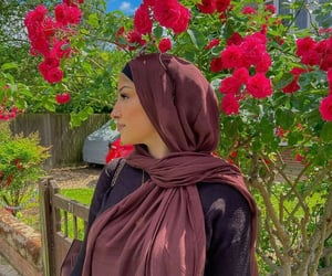 beautiful, headscarf, and red roses image