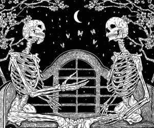 flowers, night, and skeleton image